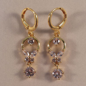 345e299d8 Jewelry - 18K Yello Gold Flower White Topaz Zircon Earrings